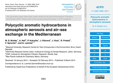 Polycyclic Aromatic Hydrocarbons in Atmo... by Mulder, M. D.