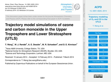 Trajectory Model Simulations of Ozone an... by Wang, T.