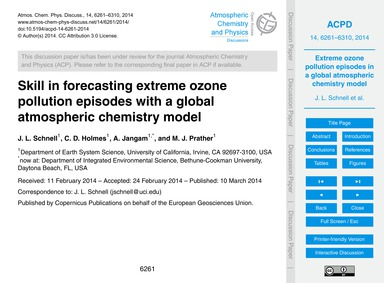 Skill in Forecasting Extreme Ozone Pollu... by Schnell, J. L.