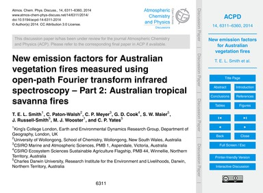 New Emission Factors for Australian Vege... by Smith, T. E. L.