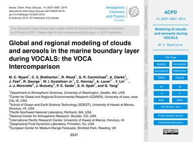 Global and Regional Modeling of Clouds a... by Wyant, M. C.