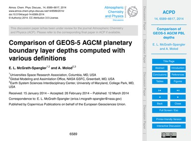 Comparison of Geos-5 Agcm Planetary Boun... by McGrath-Spangler, E. L.