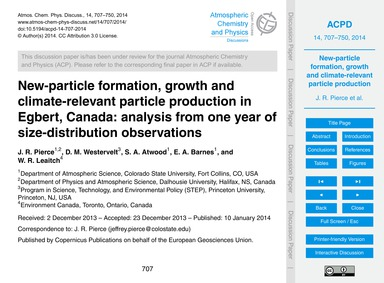 New-particle Formation, Growth and Clima... by Pierce, J. R.
