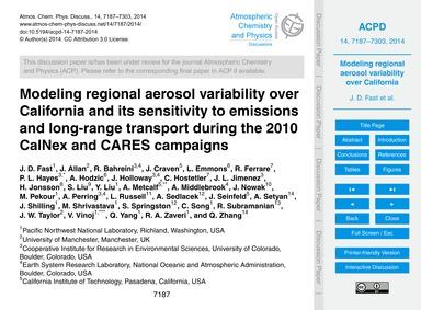 Modeling Regional Aerosol Variability Ov... by Fast, J. D.