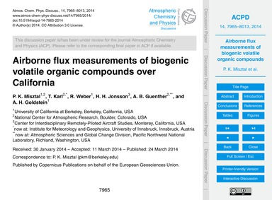 Airborne Flux Measurements of Biogenic V... by Misztal, P. K.