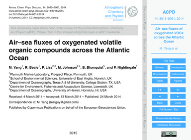 Air–sea Fluxes of Oxygenated Volatile Or... by Yang, M.