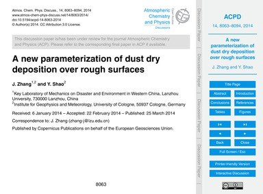 A New Parameterization of Dust Dry Depos... by Zhang, J.