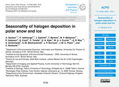 Seasonality of Halogen Deposition in Pol... by Spolaor, A.