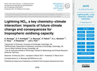 Lightning NoX, a Key Chemistry–climate I... by Banerjee, A.