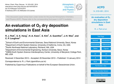 An Evaluation of O3 Dry Deposition Simul... by Park, R. J.