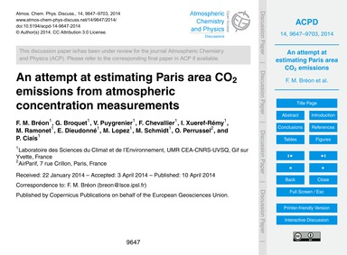 An Attempt at Estimating Paris Area Co2 ... by Bréon, F. M.