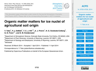 Organic Matter Matters for Ice Nuclei of... by Tobo, Y.