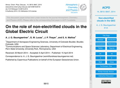 On the Role of Non-electrified Clouds in... by Baumgaertner, A. J. G.