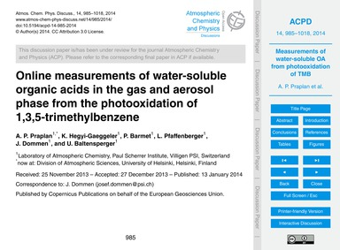 Online Measurements of Water-soluble Org... by Praplan, A. P.
