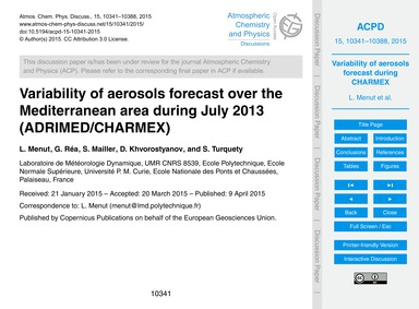 Variability of Aerosols Forecast Over th... by Menut, L.
