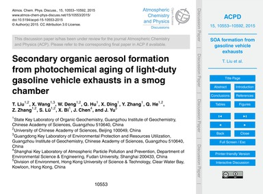 Secondary Organic Aerosol Formation from... by Liu, T.
