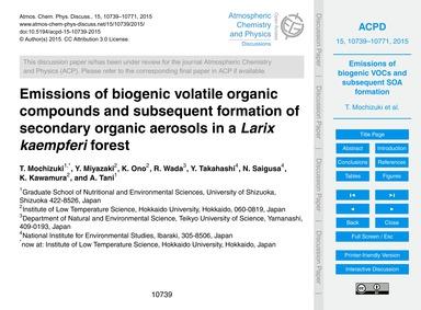 Emissions of Biogenic Volatile Organic C... by Mochizuki, T.