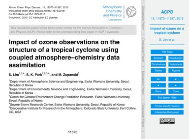 Impact of Ozone Observations on the Stru... by Lim, S.