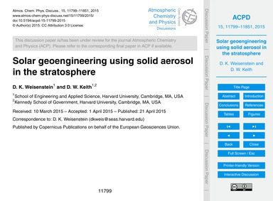 Solar Geoengineering Using Solid Aerosol... by Weisenstein, D. K.