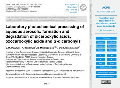 Laboratory Photochemical Processing of A... by Pavuluri, C. M.