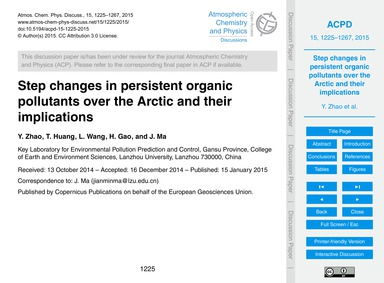 Step Changes in Persistent Organic Pollu... by Zhao, Y.