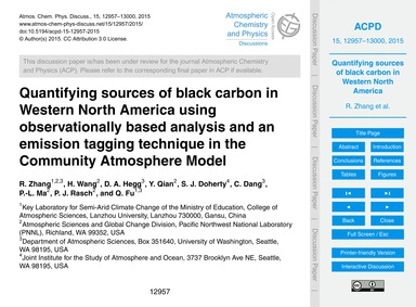 Quantifying Sources of Black Carbon in W... by Zhang, R.