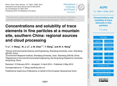 Concentrations and Solubility of Trace E... by Li, T.