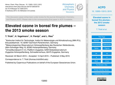 Elevated Ozone in Boreal Fire Plumes – t... by Trickl, T.