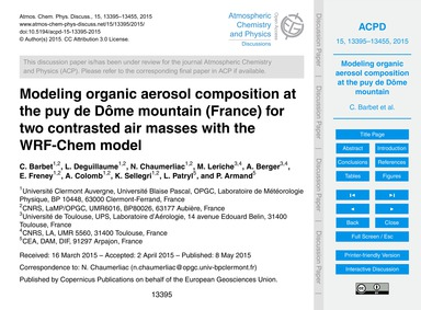 Modeling Organic Aerosol Composition at ... by Barbet, C.