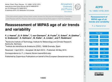 Reassessment of Mipas Age of Air Trends ... by Haenel, F. J.