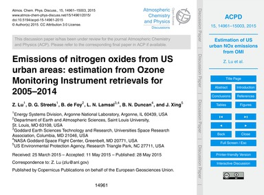 Emissions of Nitrogen Oxides from US Urb... by Lu, Z.