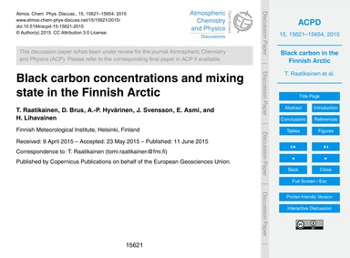 Black Carbon Concentrations and Mixing S... by Raatikainen, T.
