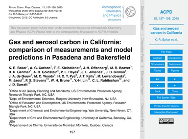 Gas and Aerosol Carbon in California: Co... by Baker, K. R.