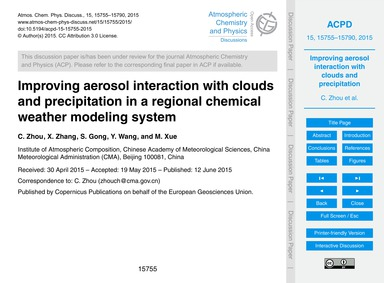 Improving Aerosol Interaction with Cloud... by Zhou, C.