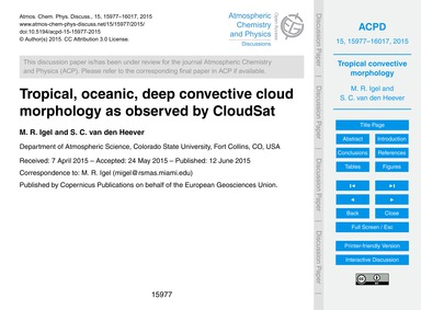 Tropical, Oceanic, Deep Convective Cloud... by Igel, M. R.