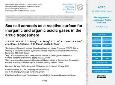 Sea Salt Aerosols as a Reactive Surface ... by Chi, J. W.