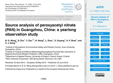 Source Analysis of Peroxyacetyl Nitrate ... by Wang, B. G.