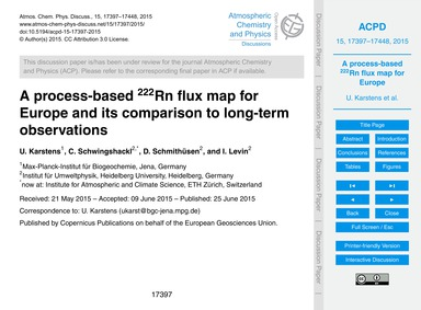 A Process-based 222Rn Flux Map for Europ... by Karstens, U.