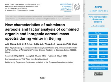 New Characteristics of Submicron Aerosol... by Zhang, J. K.