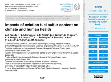 Impacts of Aviation Fuel Sulfur Content ... by Kapadia, Z. Z.