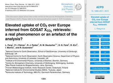 Elevated Uptake of Co2 Over Europe Infer... by Feng, L.
