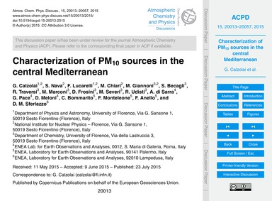 Characterization of Pm10 Sources in the ... by Calzolai, G.
