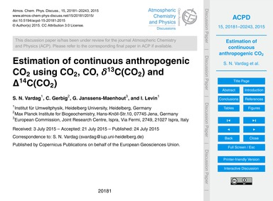 Estimation of Continuous Anthropogenic C... by Vardag, S. N.