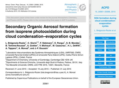 Secondary Organic Aerosol Formation from... by Brégonzio-rozier, L.