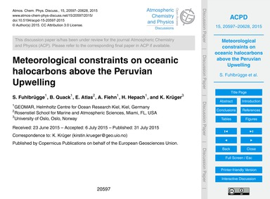 Meteorological Constraints on Oceanic Ha... by Fuhlbrügge, S.