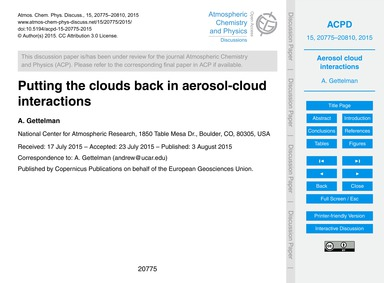 Putting the Clouds Back in Aerosol-cloud... by Gettelman, A.