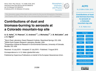 Contributions of Dust and Biomass-burnin... by Hallar, A. G.