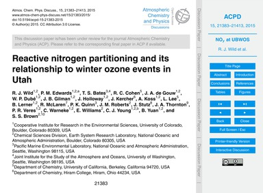 Reactive Nitrogen Partitioning and Its R... by Wild, R. J.