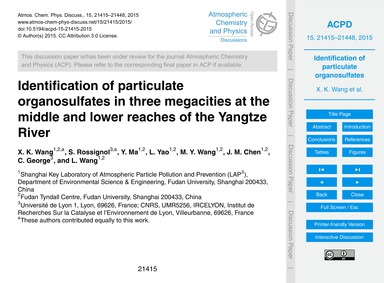 Identification of Particulate Organosulf... by Wang, X. K.