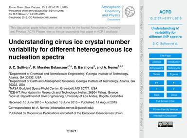 Understanding Cirrus Ice Crystal Number ... by Sullivan, S. C.